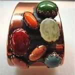 vintage matisse renoir copper and stones cuff bracelet