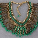 vintage mesh and faux jade collar necklace