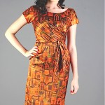 vintage midcentury silk tiki print dress