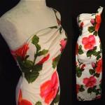 vintage barkcloth hawaiian one shoulder floral evening gown