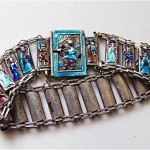 antique chinese silver and enamel bracelet