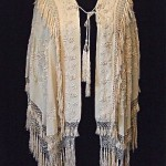 antique victorian silk embroidered fringed cape