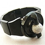 victorian whitby jet bracaelet with silver engraved orb 1850