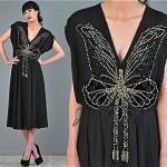 vintage 1970s dress with art deco applique