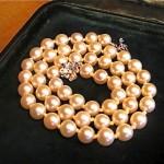 vintage 14k diamond pearl necklace