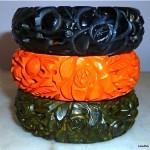 vintage 1930s set of three reticulated carved bakelite bangle bracelets