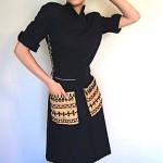 vintage 1940s burlap pocket dress