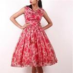 vintage 1950s chiffon floral party dress