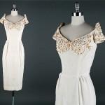 vintage 1950s linen pearl weding dress