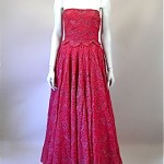 vintage 1950s strapless evening gown