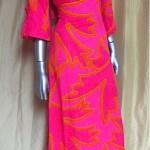 vintage 1960s alfred shaheen neon hawaiian maxi dress
