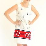 vintage 1960s nautical cotton twill wrap dress