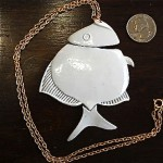 vintage 1970s articulated enamel fish necklace