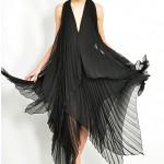 vintage 1970s avant garde sheer pleat dress