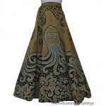 vintage 1970s batik octopus wrap maxi skirt