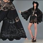 vintage 1970s crochet angel sleeve tunic