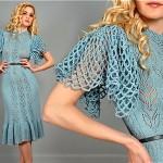 vintage 1970s crochet flutter sleeve dress