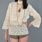 vintage 1970s crochet lace blouse