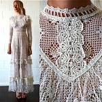 vintage 1970s crochet maxi wedding dress 2