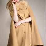vintage 1970s faux fur camel cape