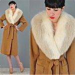 vintage 1970s fox and cashmere belted coat