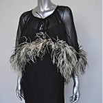 vintage 1970s marabou chiffon cape dress 2