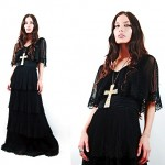 vintage 1970s tiered lace maxi dress