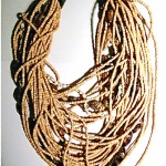 vintage 1985 gerda lynggaard for monies wood and shell necklace