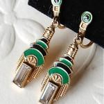 vintage art deco enamel earrings