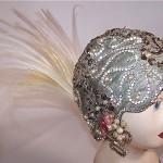 vintage art deco lame rhinestone pearl feather flapper cloche hp