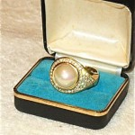vintage christian dior faux pearl ring