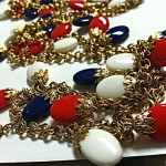 vintage czech glass red white blue necklace