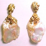 vintage ed wiener modernist 14k gold and pearl earrings