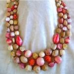 vintage hattie carnegie triple strand art glass necklace