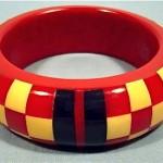 vintage howard kronimus checkerboard bakelite bangle bracelet
