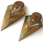 vintage huge brass patina etruscan artisan earrings