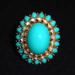 vintage jomaz faux turquoise and rhinestone ring