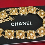 vintage late 1970s chanel goldtone and faux pearl necklace