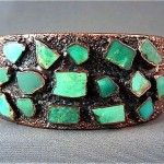 vintage modernist copper and turquoise cuff bracelet