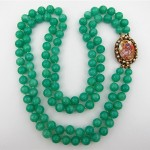 vintage peking jade glass necklace with removeable portrait miniature clasp brooch