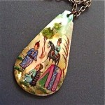 vintage persian handpainted mother of pearl necklace