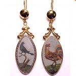 antique 1800s italian micro mosaic earrings