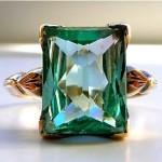 antique art deco 10k aquamarine ring