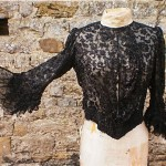 antique c. 1900 french couture corsetted jet beaded blouse