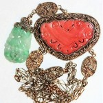 antique chinese jade and coral necklace
