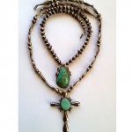 two vintage navajo turquoise necklaces