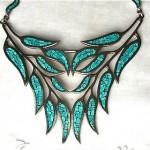vinage 1950s arte en plata sterling turquoise necklace