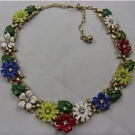 vintage 1940s alfred philippe trifari enamel flower necklace