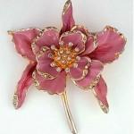 vintage 1940s enamel orchid brooch