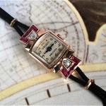 vintage 1940s gruen 14k diamond and ruby watch